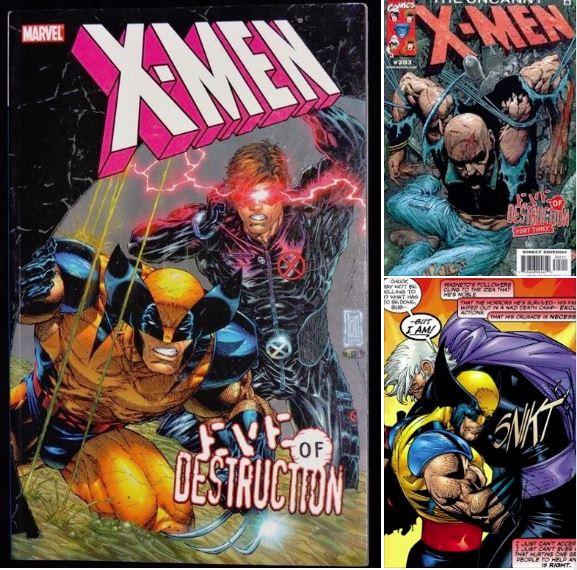 Accompagné par un Cyclope de plus en plus violent, Wolverine élimine un Magneto complètement barré qui a violemment torturé le Pr X. C'est juste avant l'arrivée de Morrison et accessoirement le script de PLANET X, non ?  Marvel Comics