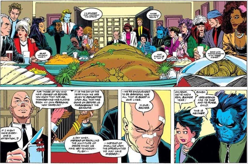Les X-Men tels qu'on les aime : une famille unie  malgré l'adversité avec même plein d'humains à table.  Une scène inconcevable désormais.... Marvel Comics