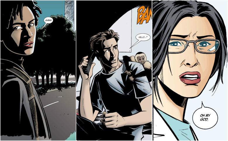 De gauche à droite, le casting complet : Alison Mann,355, Natalya un personnage secondaire sympathique mais qui ne sert pas à grand chose, Yorick et son singe Esperluette.  © Vertigo / Panini / Urban