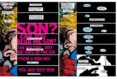 Des personnages non-visibles dans les cases mais à la présence affirmée par le texte et le lettrage  (c) Marvel Comics