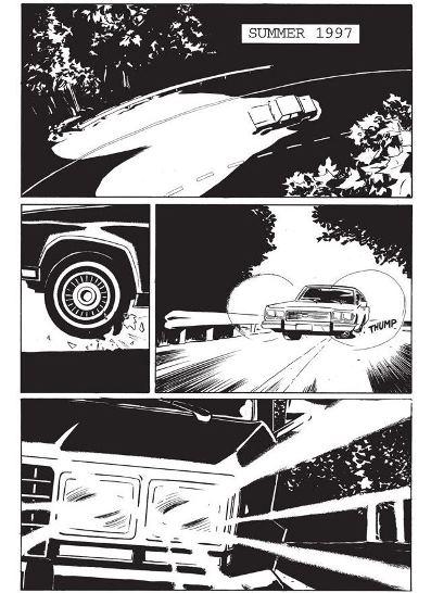 Une voiture, la nuit, un pneu crevé : le début des emmerdes (c) Image Comics