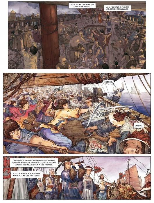 Le navire de Zheng Yi est peuplé de familles entières…et de femmes qui se battent quand les hommes cuvent leur vin ©Editions Fei