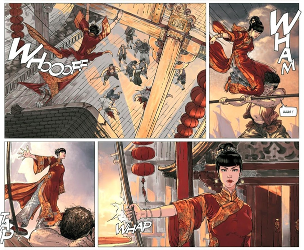 Une héroïne qui virevolte un peu trop au début, telle une artiste martiale hors pair. ©Editions Fei