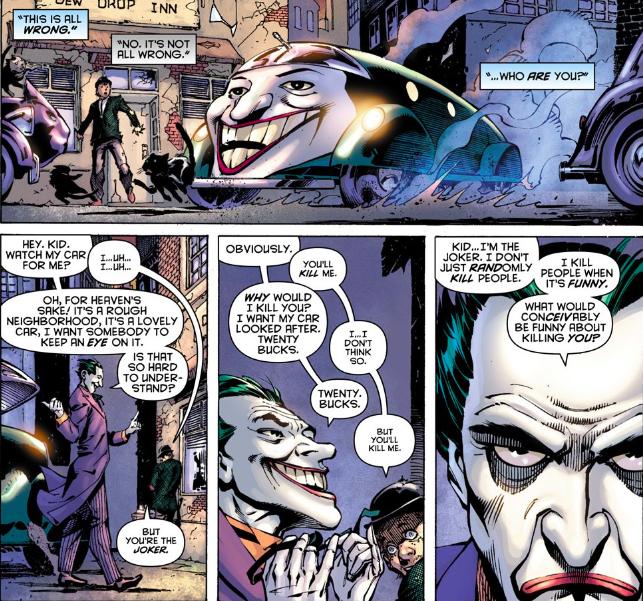 Un moment Gaiman : Le Joker laisse sa voiture à garer dans Crime Alley ! ©DC Comics / Urban Comics