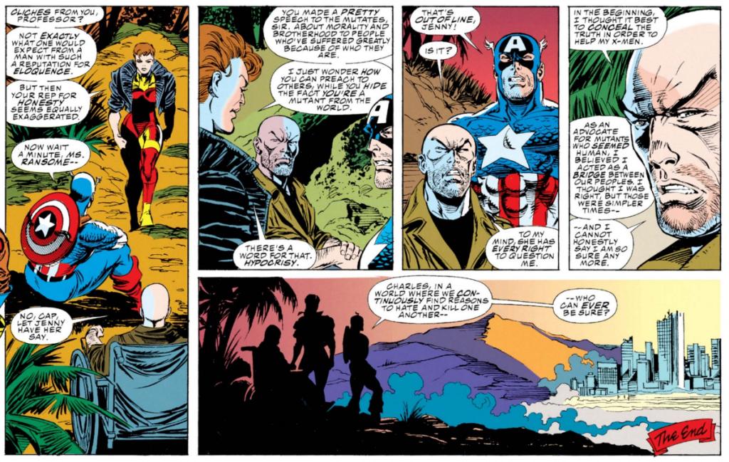 La réalité à l épreuve du rêve : Charles Xavier traité dhypocrite devant Captain America ! On a connu des fins plus optimistes !  ©Marvel Comics