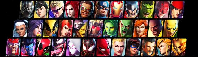 Le roster au moment de la sortie du jeu (d'autres personnages arriveront ensuite via DLC) J'ai beaucoup aimé Black Widow, Elektra, Storm, Psylocke, Gamora, Crystal, Diablo, Spider-man, Dr Strange, Venom et Ghost Rider. Vous voyez le souci quand il faut s'en tenir à 4 ? source :  superherohype.com ©Koei Tecmo