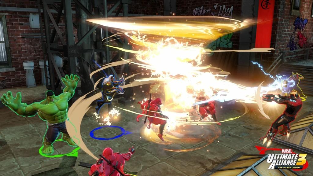 Tornade et Star-lord font une attaque synergique en combinant feu et vent source : gamekyo.com ©Koei Tecmo