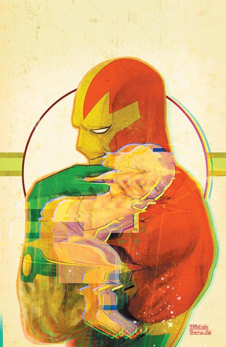 Couverture alternative du numéro 7, avec un exemple de l'effet de « distorsion » sur le nouveau né  (c) DC Comics