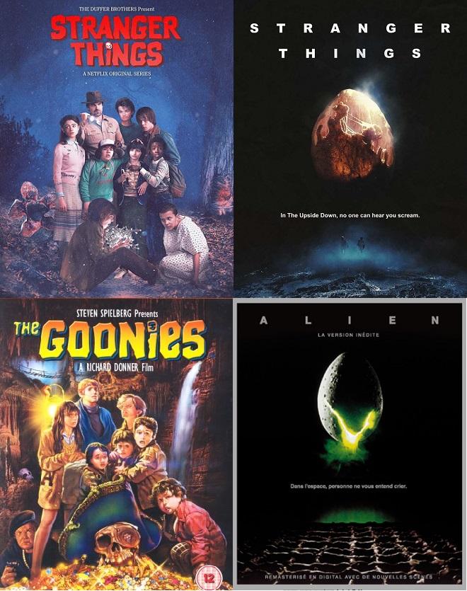 Quelques exemples d'affiche rendant hommage à des films cultes  ©Netflix/Warner Bros/Twentieth Century Fox