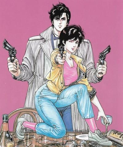 Un visuel toujours glamour entre James Bond et John Woo. © Tsukasa Hôjô/Shueisha/illustration book.