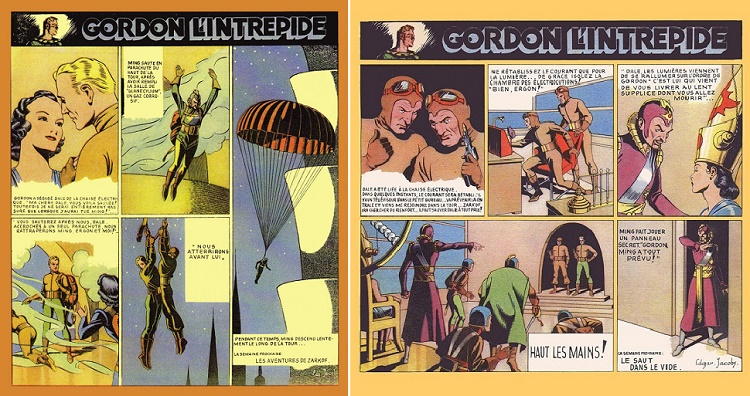 Exemples de planches (superbes) de la série Flash Gordon par E.P. Jacobs