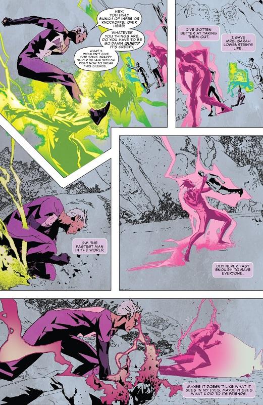 L'horreur représentée par la couleur dans un monde en noir et blanc  @ Marvel Comics