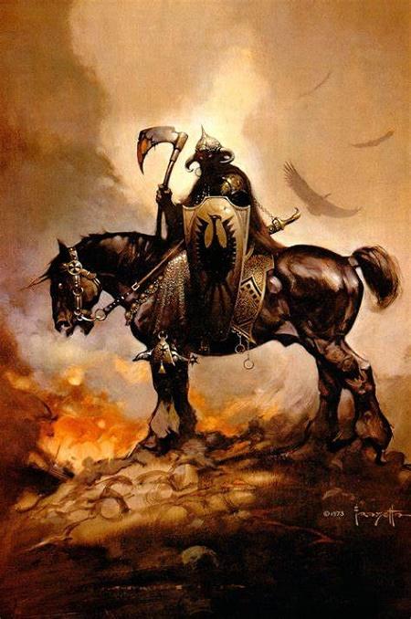 En première inspiration: le mythique DEATH DEALER de Frazetta.