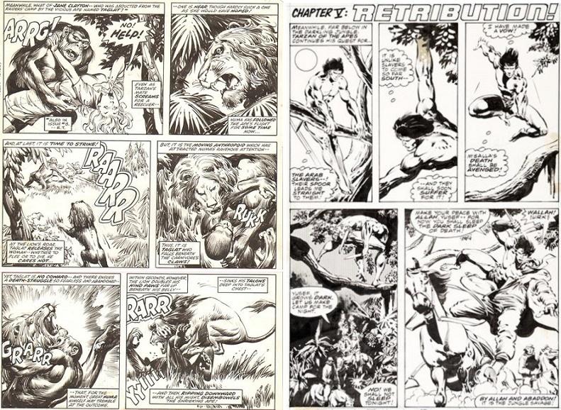 De gauche à droite: L'encrage d'Alfredo Alcala, puis celui de Klaus Janson. © Marvel Comics