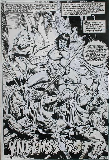 Ci-dessus, Sal Buscema rêvait manifestement de dessiner Conan comme son grand-frère, même lorsqu'il s'agissait de dessiner Tarzan... © Marvel Comics