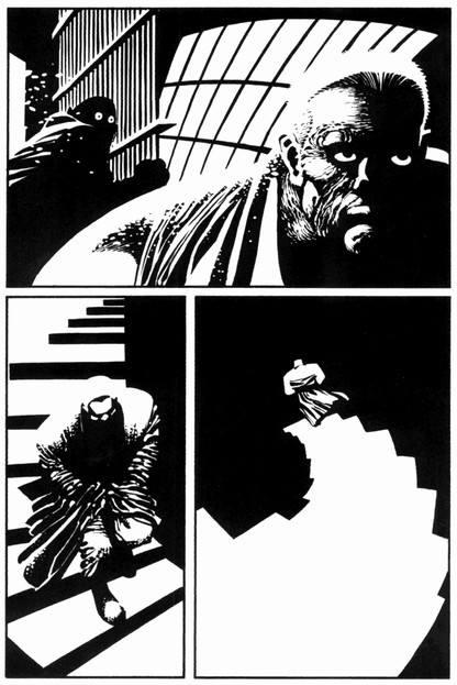 Pour le lecteur, l'image de l'escalier est une forme simpliste. En réalité, elle a fait l'objet d'une construction géométrique préalable minutieuse, avant d'être épurée.  ©Dark Horse Comics ©Présence