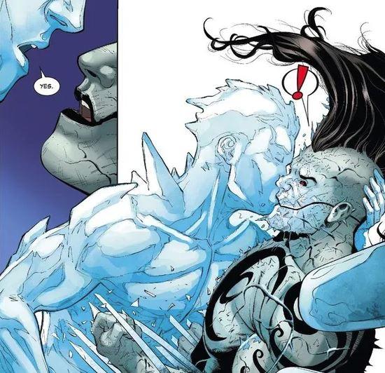 On savait que Iceman était un rigolo, mais pas un fan du Big Bisou de Carlos !  © Marvel Comics