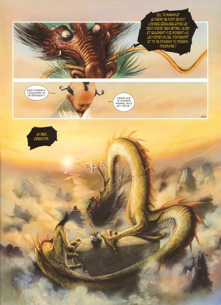 Le roi des dragons Wulong discute avec Sunya à la porte de Yanluowang (porte des enfers) © Delcourt