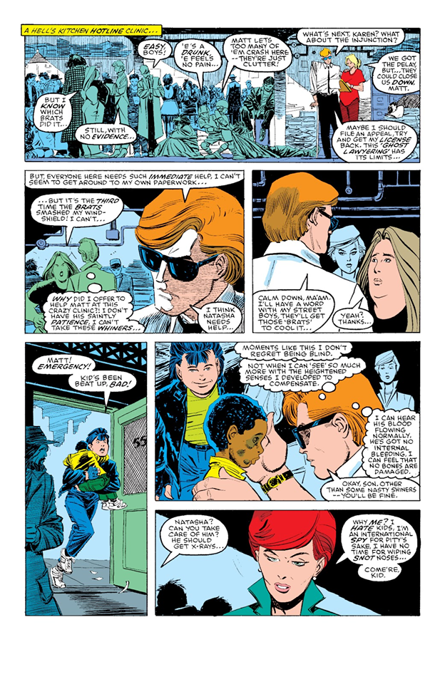 La permanence gratuite de Matt et Karen, un superbe exemple de la sensibilité social de Ann Nocenti. ©Marvel Comics