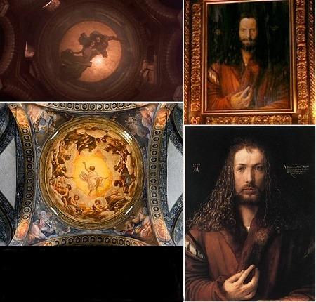 En haut, Dracula. En bas, LA VISION DE St JEAN par le Corrège, ainsi que l'AUTOPORTRAITde Dürer. Source : BookWiki http://boowiki.info/art/peintures-par-correge/vision-de-saint-jean-a-patmos.html © Columbia Pictures