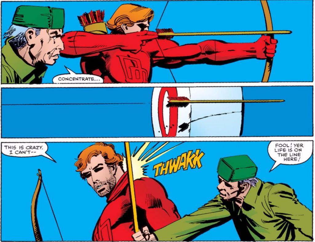 Mattt Murdock : un super héros mais un piètre archer (en même temps, le gars est aveugle...) ©Marvel Comics