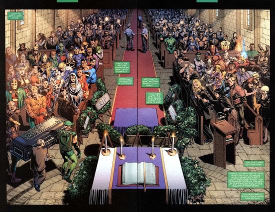 Le cercueil porté par Green Arrow, Flash et Hawkman: un symbole: aucun personnage n'est secondaire. ©2004-DC comics-Rags Morales