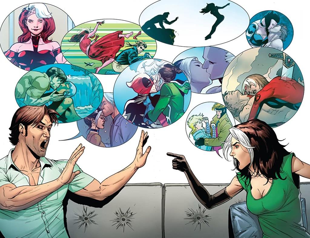 Remy et Anne Marie ressortent les dossiers. Un chouette instant séquentiel aux antipodes des pavés de texte de papa Claremont.  ©Marvel Comics
