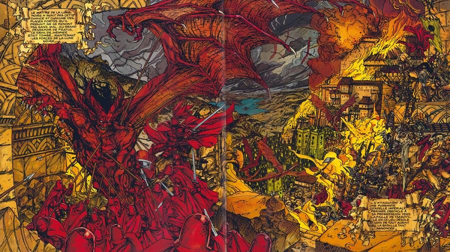 Les dantesques doubles-pages de batailles de la Lune Noire ! © Dargaud