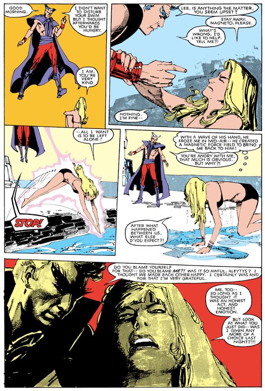 Lee Forrester tente de fuir : a / Une scène ridicule ? b/ un Magneto, son et son étrange maillot de bain ? c / Ses sourcils aussi magnétiques que ceux de François Fillon ? Les trois, camarade !  ©Marvel Comics