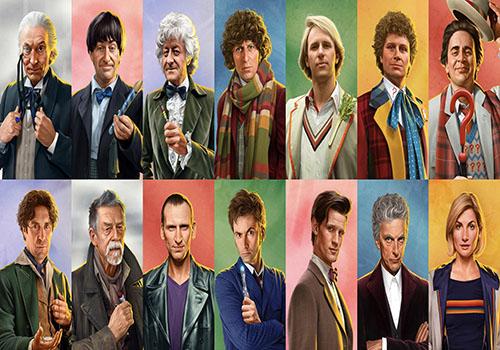 légende : Les interprètes du Docteur tel que vu dans la série télévisée, de 1963 à aujourd'hui.  Copyright : BBC/Jeremy Enecio)